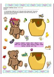 English Worksheet: A or An - indefinite articles for kids
