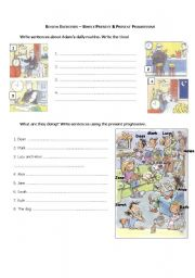 English Worksheets: Review : Simple Present & Present Progressive
