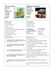 English Worksheet: Information gap recipe 2 (final task : write your own recipe)
