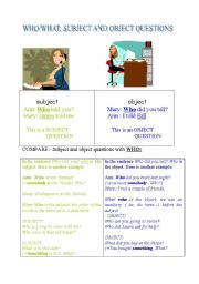 English Worksheets: Subject and object questions.