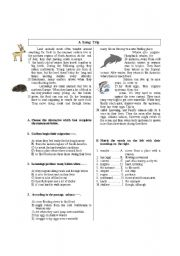 English Worksheets: A  Long  Trip about animals