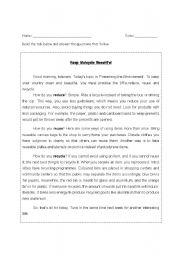 English Worksheet: reduce, reuse and recycle