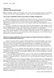 English Worksheets: Multiple Intelligences - Student�s copy