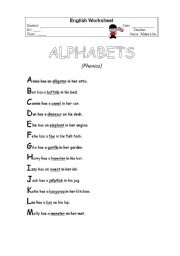 English Worksheet: alphabet poem
