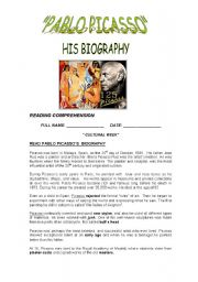 English Worksheet: READING: Picasso�s biography