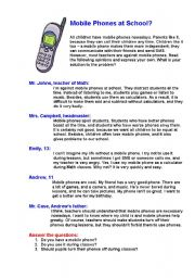 English Worksheet: Mobile Phones at School