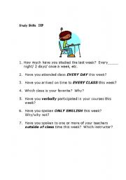 English Worksheets: Study Skills Basic Questions