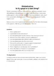English Worksheet: Globalization: a webquest