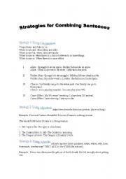 English Worksheets: Strategies for Combining Sentences