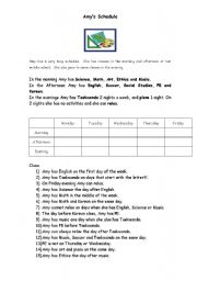 English Worksheets: Amy�s Schedule