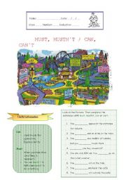 English Worksheet: MUST, MUSTN´T / CAN, CAN´T