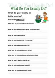 English Worksheets: What do you usually do?