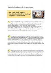 English Worksheets: reading: match the headlines with the news items