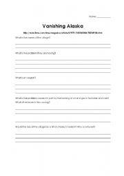 English Worksheets: Vanishing Alaska