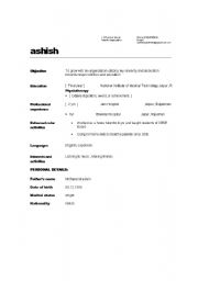 English Worksheets: resume writing