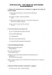 English Worksheet 9th Grade Grammar Revision