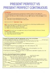 English Worksheet: Present Perfect Simple vs Present Perfect Continuous