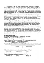 English Worksheet:    Human Rights and Non violence