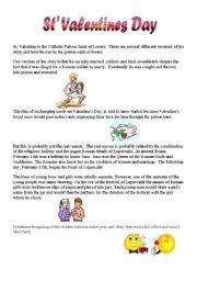 English Worksheet: St Valentines day
