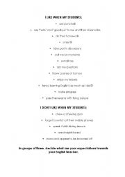 English Worksheet: I LIKE WHEN MY STUDENTS (an excellent ice-breaker)