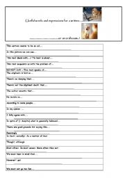 English Worksheet: useful words and expressions for written and oral exams