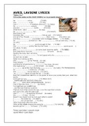 English Worksheet: Skater Boy - a song full of past simples