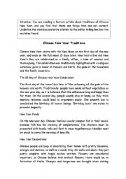 English Worksheet: Chinese New Year traditions