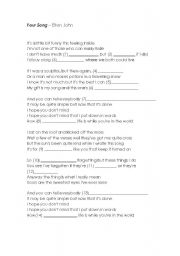 English Worksheet: Your Song, from Elton John.