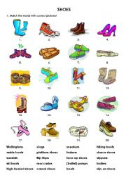 All these worksheets and activities for teaching Types of shoes have