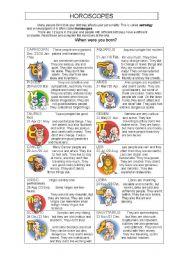 English Worksheet: Horoscopes
