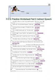 English Worksheet: FCE Worksheet Part 6 Indirect Speech