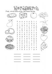 Food wordsearch