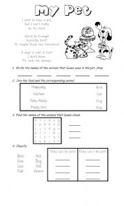 English Worksheet: Reading: My pet