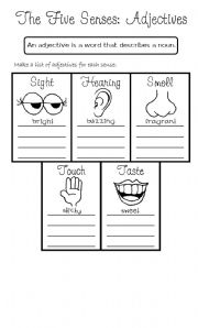 English Worksheet: The five senses: Adjectives