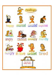 English Worksheet: Feelings according to Garfield