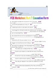 English Worksheet: FCE Worksheet Part 7 CAUSATIVE FORM