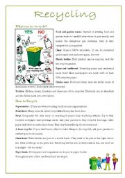 English Worksheet: Recycling