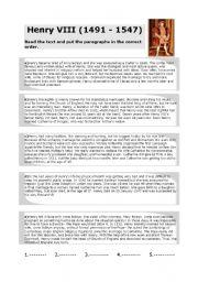 English Worksheet: Henry VIII reading comprehension