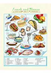 English Worksheet: Food - Lunch and Dinner - Picture Dictionary