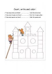 English Worksheet: Count, write and color