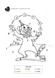 English Worksheets: Color the clown. Follow the color code!