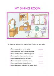 English Worksheet: My Dining room