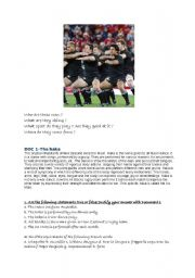English Worksheet: rugby