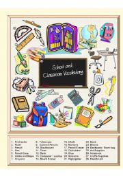 English Worksheet: School & Classroom Vocabulary - Picture Dictionary