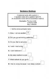 English Worksheets: Sentence Endings