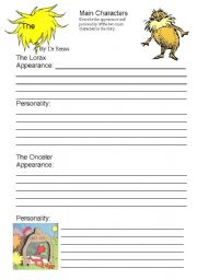 Printables Lorax Worksheets the lorax writing worksheet