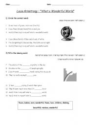English Worksheets: What a wonderful world