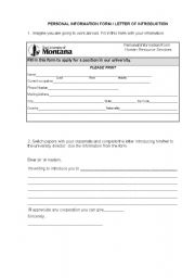 English Worksheet: PERSONAL INFORMATION FORM / LETTER OF INTRODUCTION