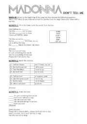 English Worksheets: Madonna, Don�t Tell Me