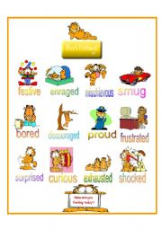 English Worksheet: Feelings according to Garfield Part 2